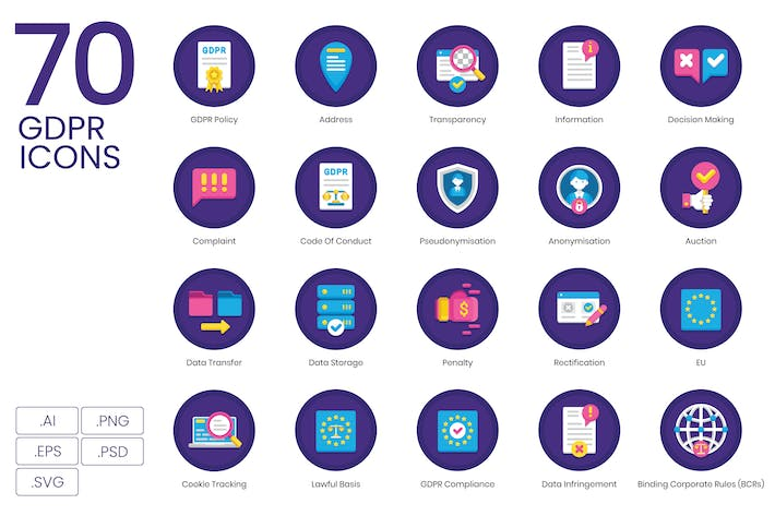 Thumbnail for 70 GDPR Icons - Orchid Series
