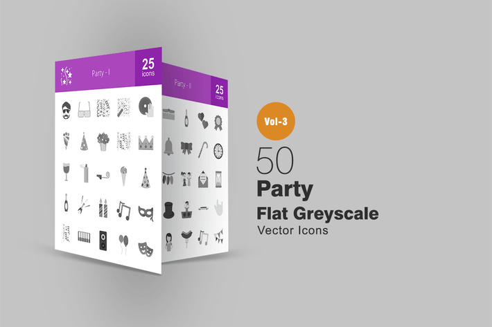 Thumbnail for 50 Party Greyscale Icons