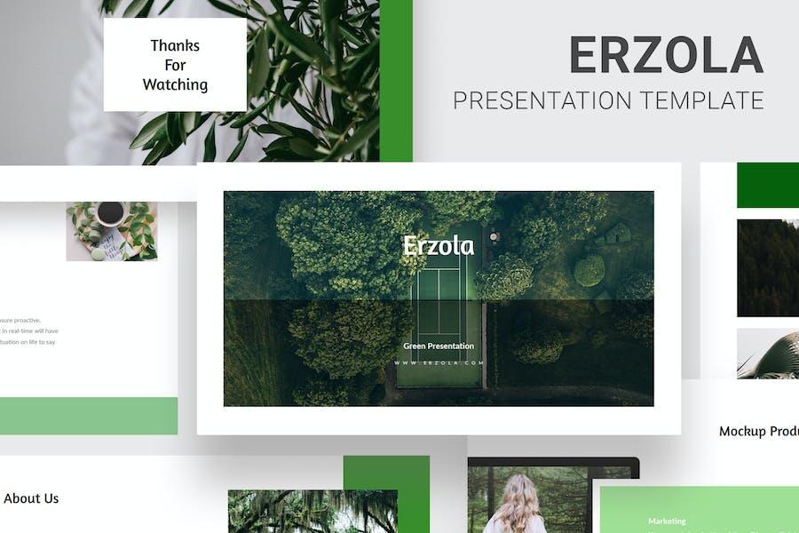 Erzola - Green Colors Pitch Deck Google Slides
