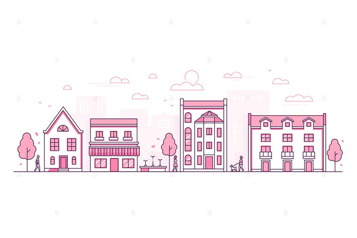 Thumbnail for City street - thin line design style illustration