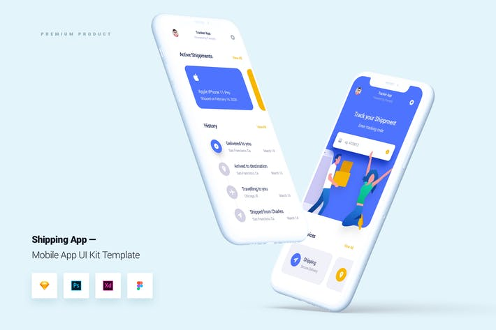 Thumbnail for Delivery & Shipping App Mobile UI Kit Template