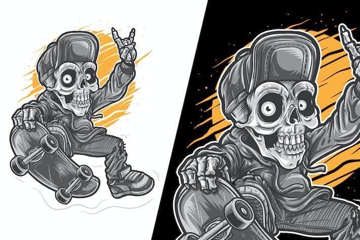 Thumbnail for Skater Skull Boy Vector Illustration