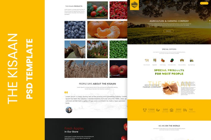 Thumbnail for The Kisaan One Page PSD Template