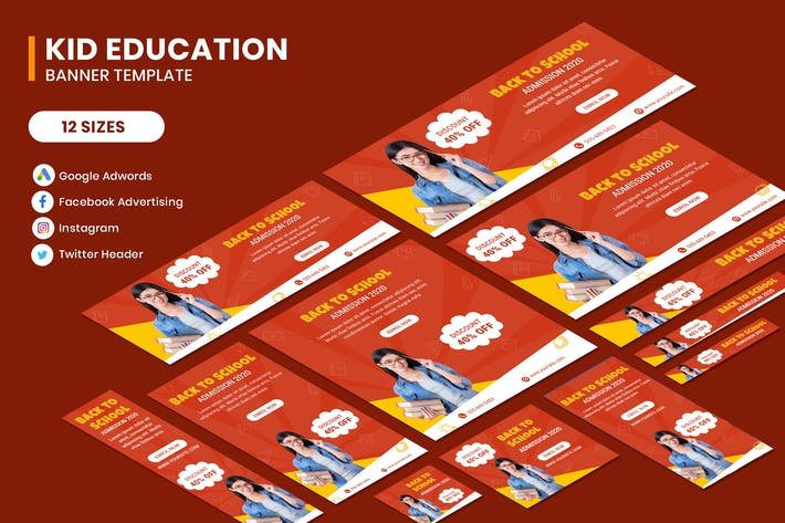 Thumbnail for Education Google Adwords Banner Template