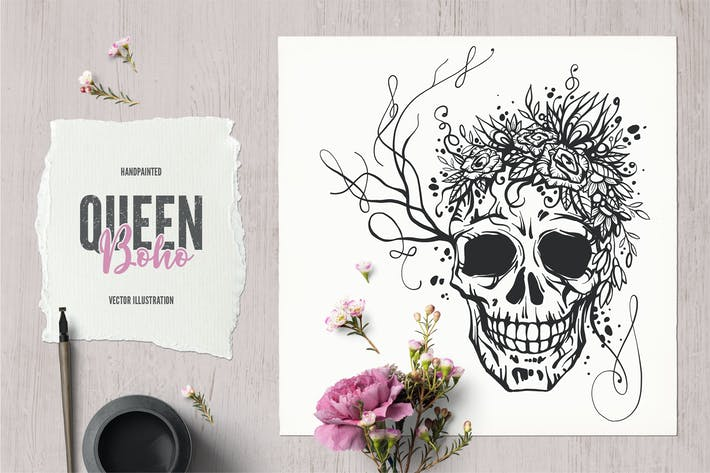 Thumbnail for Boho Queen Skull Tattoo Illustraton