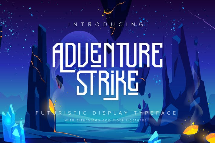 Thumbnail for Adventure Strike | Futuristic Display Typeface