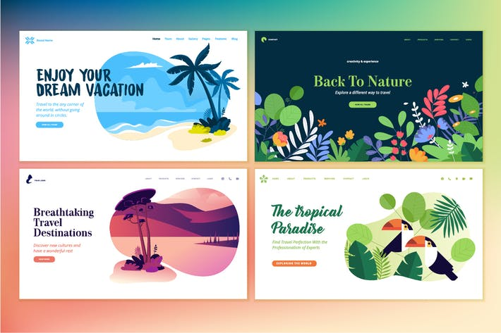 Cover Image For Set of Flat Design Web Page Templates