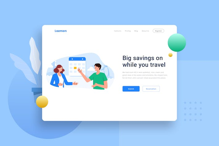 Thumbnail for Hotel Schedule Travel Landing page Illustration