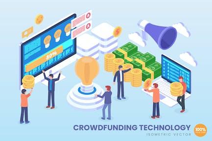 Isometric Crowdfunding Vector Concept