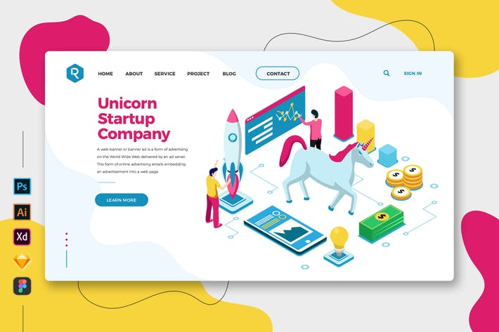 Thumbnail for Unicorn Startup Company Web & Mobile Landing Page