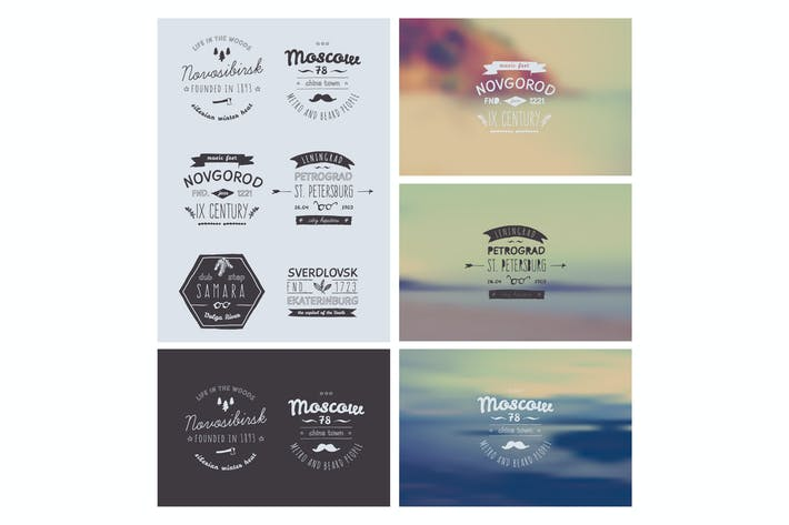 Cover Image For 6 Hand Drawn Style Logos. Trendy Retro Vintage