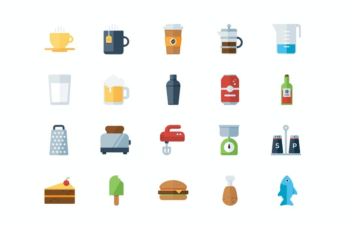 Thumbnail for 50 Food and Drink Flat Icons