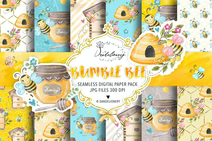 Thumbnail for Bumble Bee digital paper pack