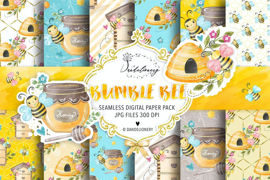 Bumble Bee digital paper pack