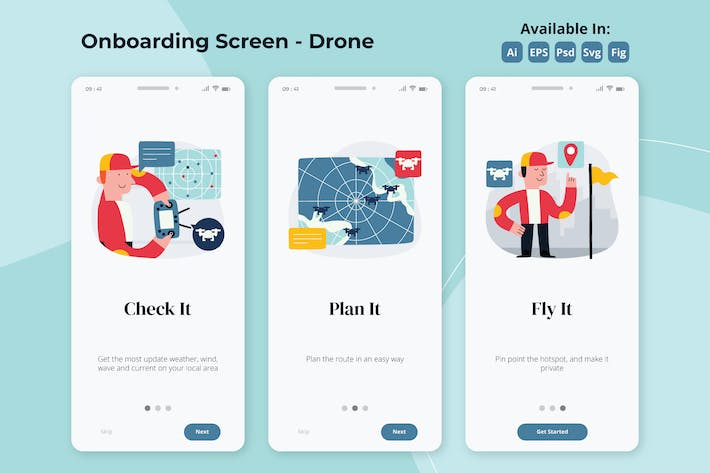 Thumbnail for Drone flight apps onboarding screens