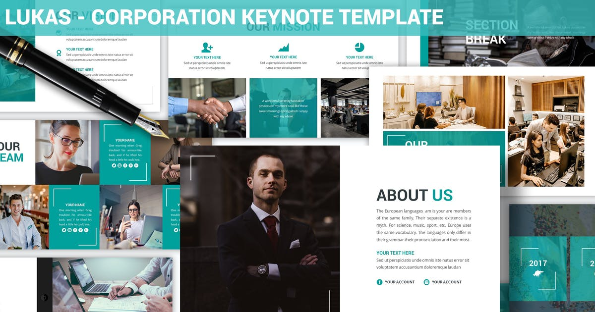 Download Lukas - Corporation Keynote Template by SlideFactory