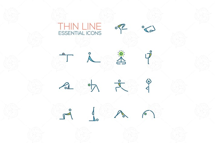 Thumbnail for Yoga Poses - Thin Single Line Icons Set