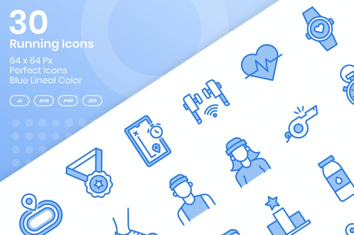 Thumbnail for 30 Running Icons Set - Blue Lineal Color