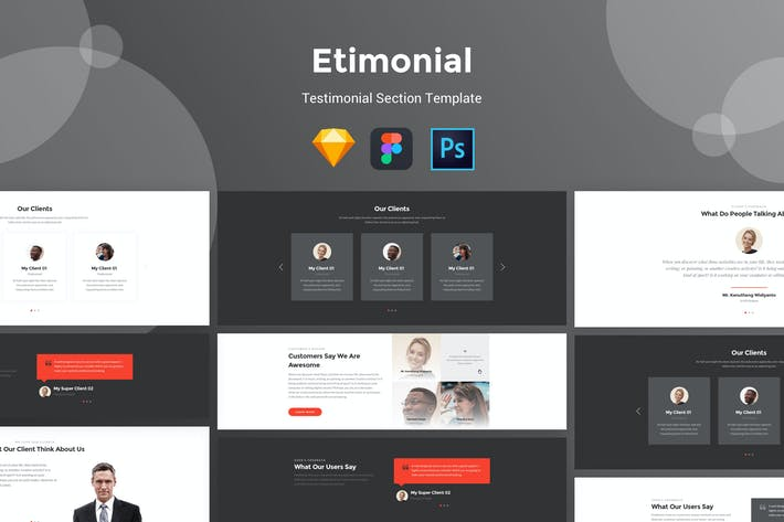 Cover Image For Etimonial - Team Section UI Kit Templates