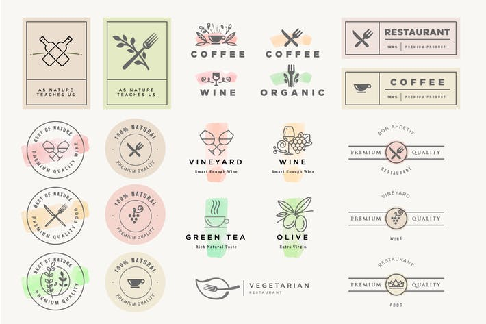 Set of stickers and labels for food and drink