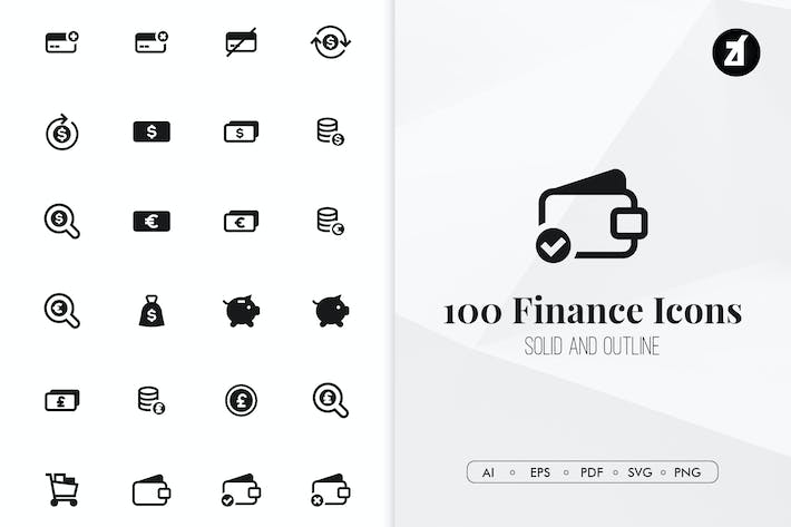 Thumbnail for 100 Finance minimal icons