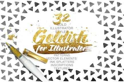 Goldish Kit. For Illustrator+Extras