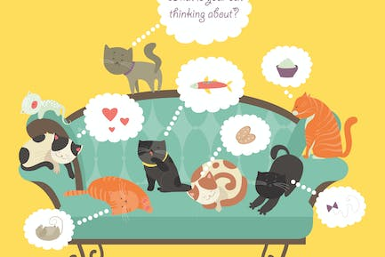 Funny cats with Speech Bubble. Vector illustration