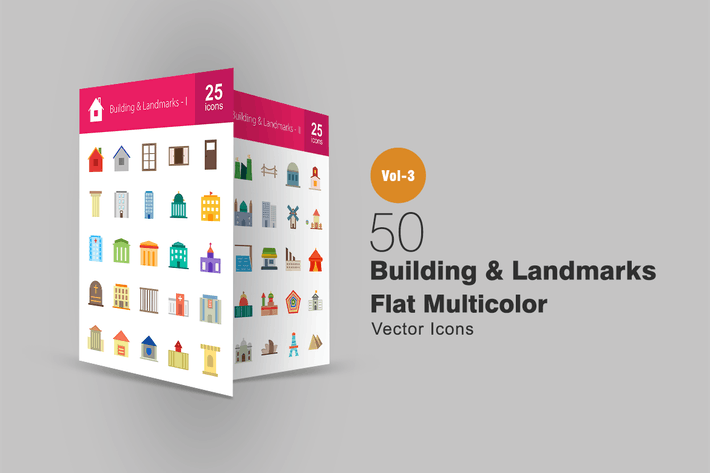 Thumbnail for 50 Buildings & Landmarks Flat Multicolor Icons