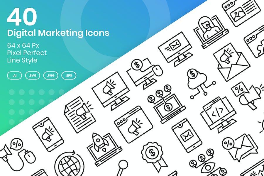 Conjunto de 40 Íconos de marketing digital - Línea