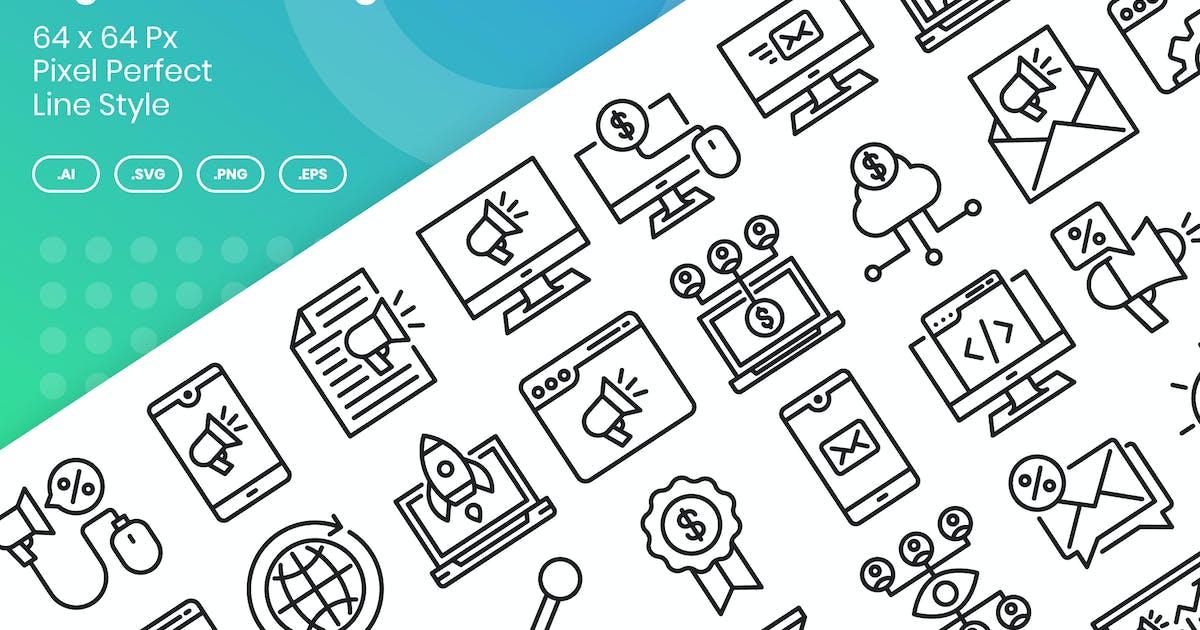 Download 40 Digital Marketing Icons Set - Line by kmgdesignid