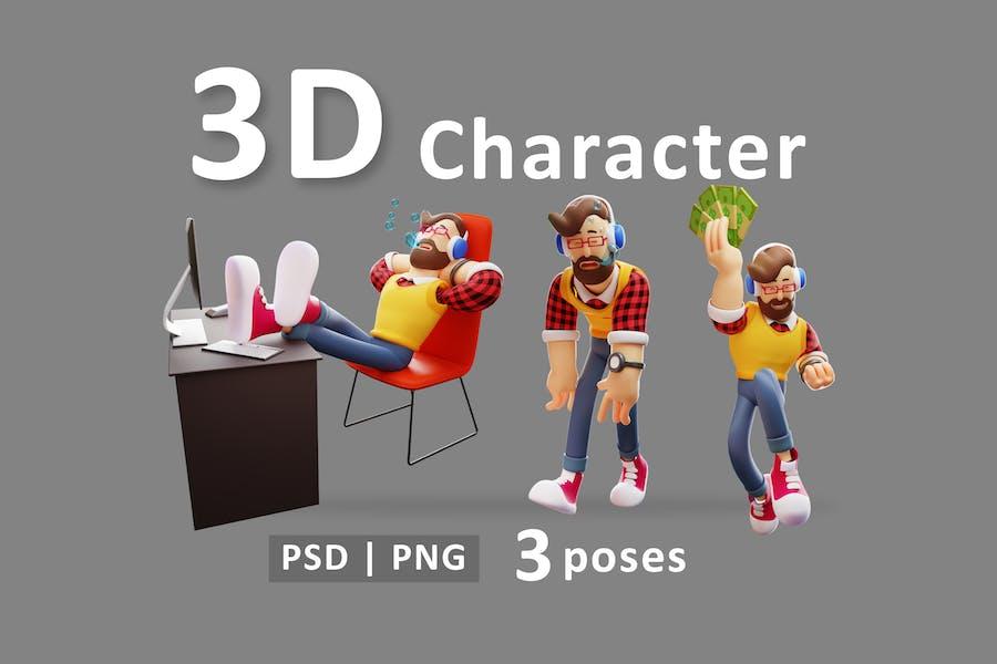 Мужской - 3D мультфильм персонаж человек в разных позах