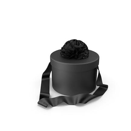 Schwarze runde Geschenkbox mit Seidenband