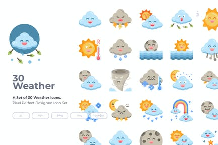 30 Wetter Icons - Flach