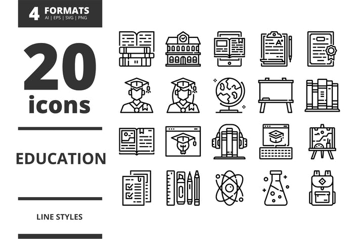 Thumbnail for Education Line icons packs