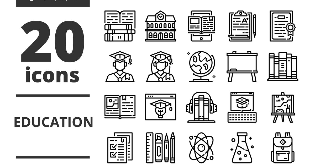 Download Education Line icons packs by linector