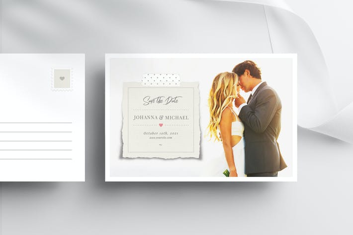 Thumbnail for Save The Date Postcard Template