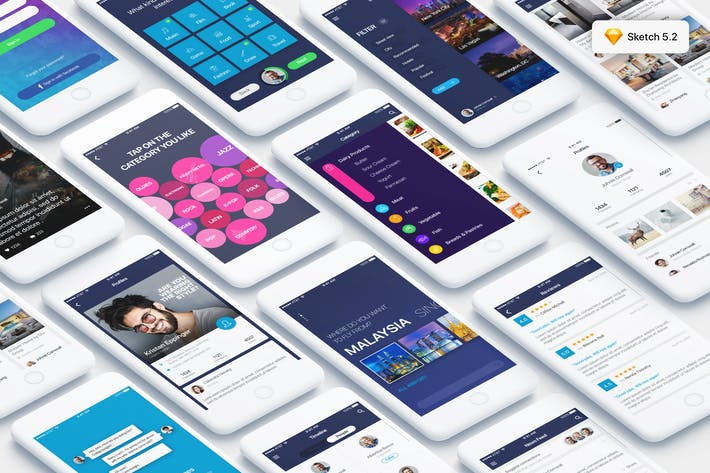 Thumbnail for Mountify Mobile UI Kit for SKETCH
