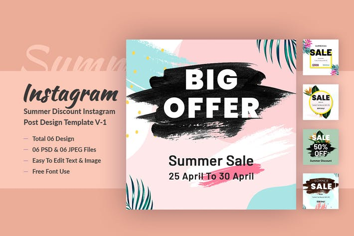 Thumbnail for Summer Discount Instagram Post Design Template