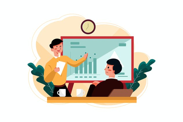 Businessman checking business report Illustration