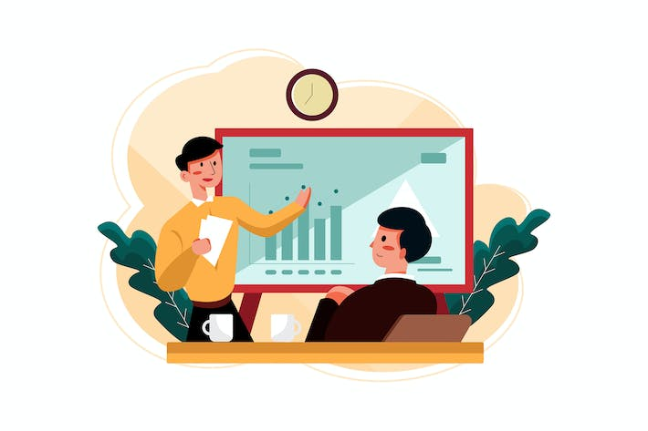 Thumbnail for Businessman checking business report Illustration