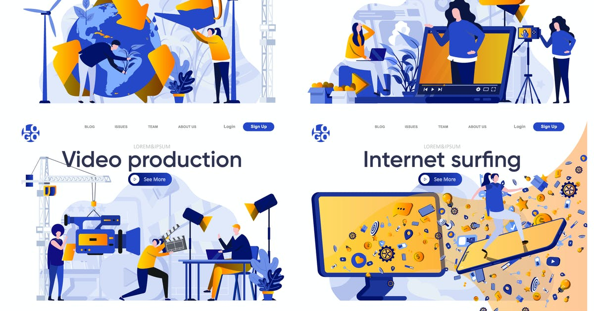 Download Collection Web Page Flat Concept with People by alexdndz