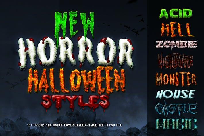 Новый ужас Хэллоуин Photoshop Стили