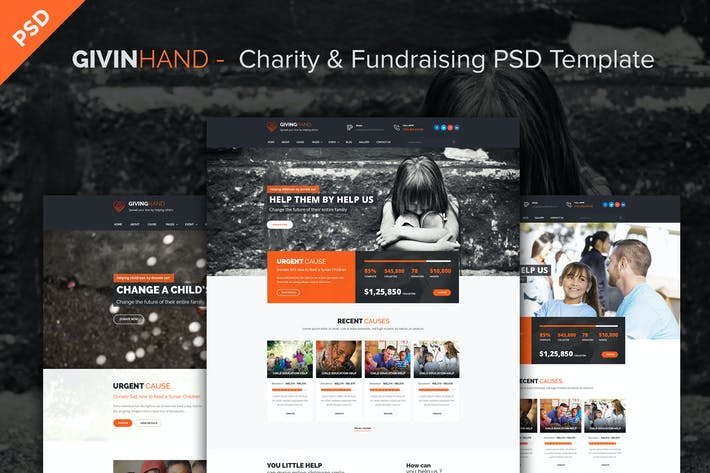 Thumbnail for GIVINGHAND - Charity & Fundraising PSD Template