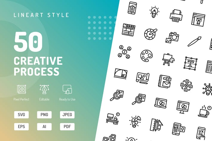 Thumbnail for Creative Process Line Icons