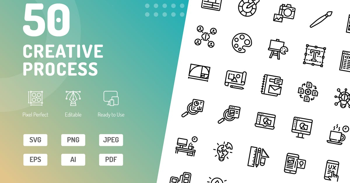Download Creative Process Line Icons by kerismaker