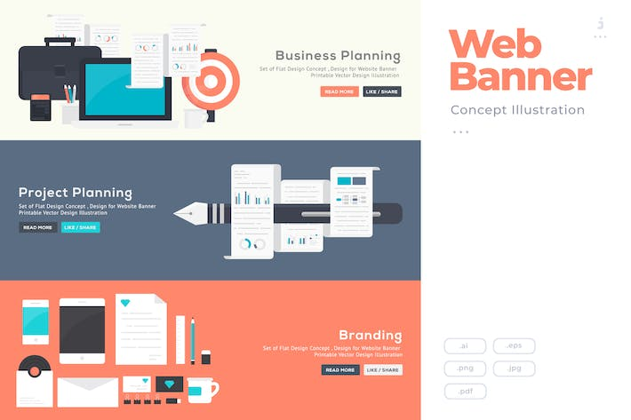 Thumbnail for Flat Design Banner Concept for Project Planning