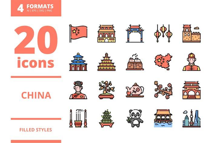 Thumbnail for China gefüllte Icons Packs