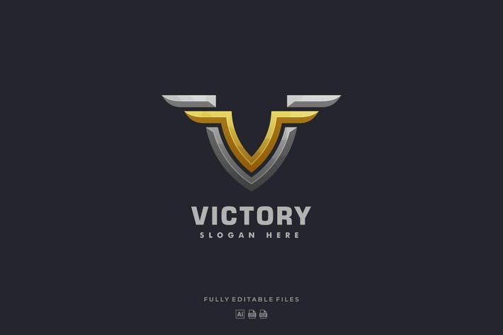 Thumbnail for Bold Letter V with Wing Luxury Logo