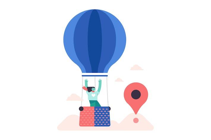 Thumbnail for Hot Air Balloon Flat Illustration