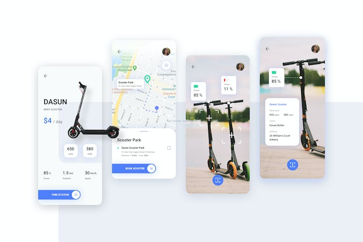 Thumbnail for Rent Scooter Travel Mobile UI - FV